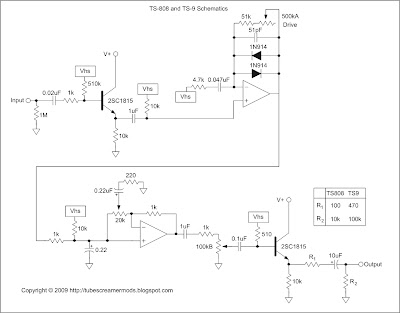 TS9 Tube Screamer Mods: Schematics