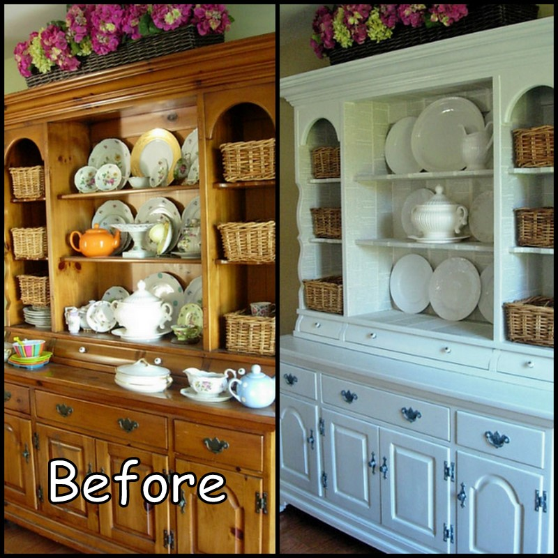 Knotty Pine Cabinets Makeover: Dollar Store Crafter: Knotty Pine Hutch Makeover