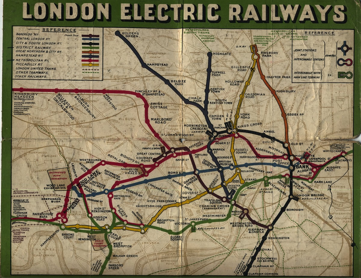 In Pictures  1907 Underground Map   London Reconnections Going back even further than our previous 1927 Underground map  the map  above shows the network as it was in 1907