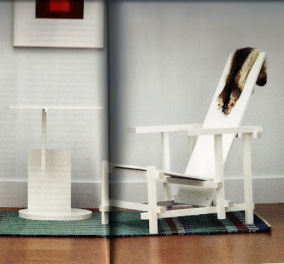 White Rietveld side table and chair.