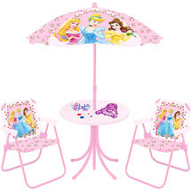 Thank You Sd Has Kid S 4 Piece Patio Set Table Umbrella 2 Folding Chairs Disney Princess Cars For Only 20 Free Shipping To