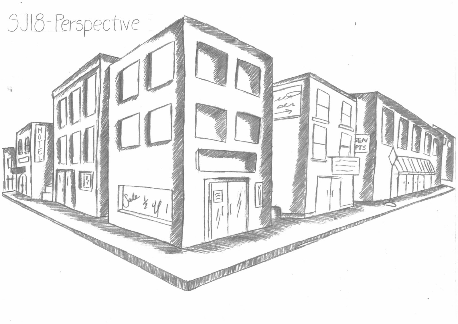 Cities 2 Point Perspective Buildings Sketch Coloring Page