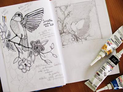 Nightingale silk painting sketch / lakštingala šilko paveikslo eskizas