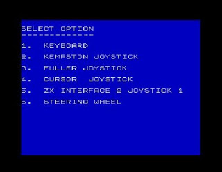 ZX Spectrum Games Formula One Menu Screen