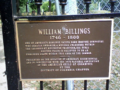 William Billings marker in Boston Common