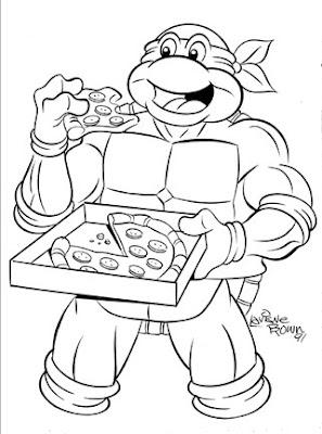 Cowabunga Cartoon Classics!: Turtle eats Pizza