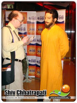 Dr.Amol Kolhe who plays Raja Shivaji in Raja Shivchhatrapati, talking to Mr.Raj Ganotra of PRO Bollywood & Spicy Stars Mumbai