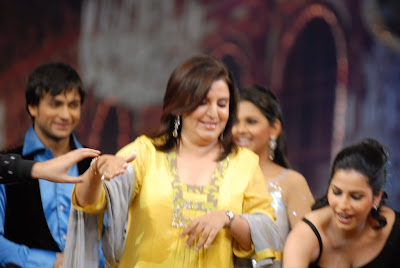 Bollywood choreographer Farah Khan with the contestants at Nach Baliye 4 on Star Plus channel