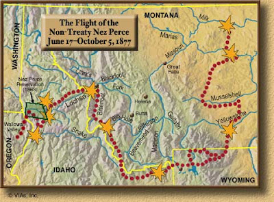 Map of Nez Perce flight in 1977