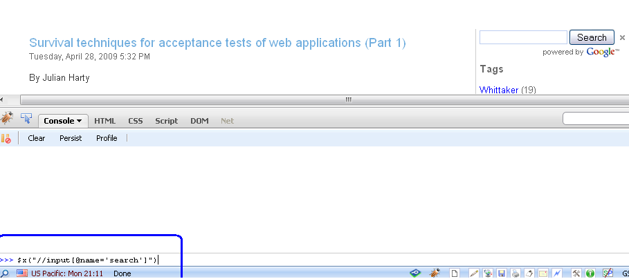 Testing XPath in Firebug | No Automated Testing
