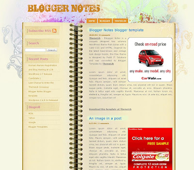 Blogger Notes Blogspot Skin