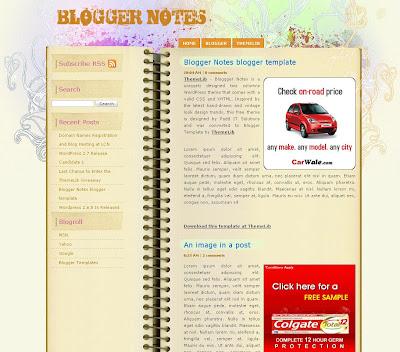 Blogger Notes Blogspot Skin