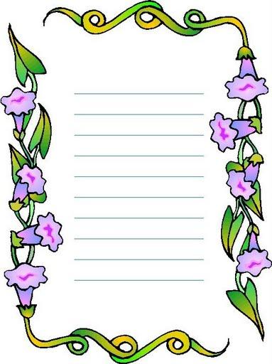 Chicos Infantes Papel De Carta De Flores Violetas Para