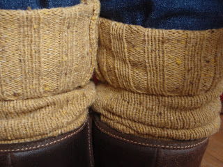Knitted Leg Warmers Using Caron Cakes Yarn