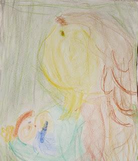 Waldorf crayon drawing breastfeeding