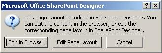 This page cannot be edited in SharePoint Designer. You can edit the content in the browser, or edit the corresponding page layout in SharePoint Designer