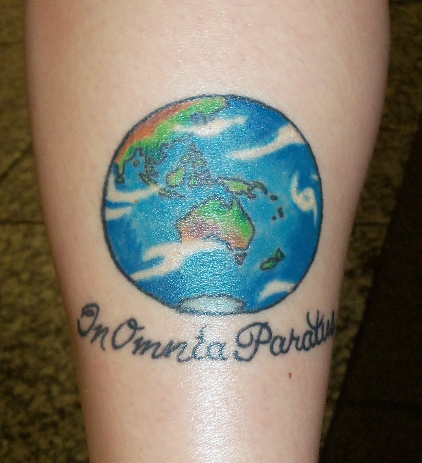 Superior Tattoo: Kristine\'s Globe and a Memorial for Mom