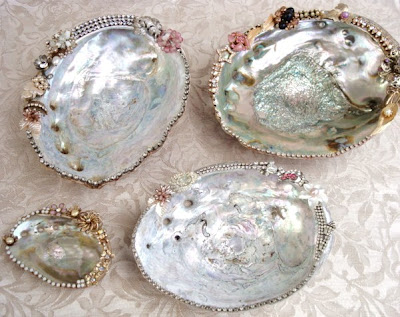 abolone shells decorated with vintage rhinestones