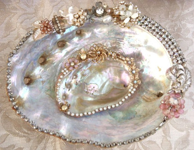 abalone shells embellished with vintage jewels