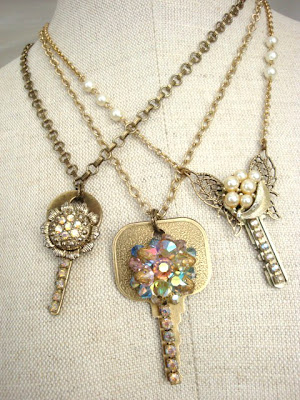Repurposed keys and vintage jewels