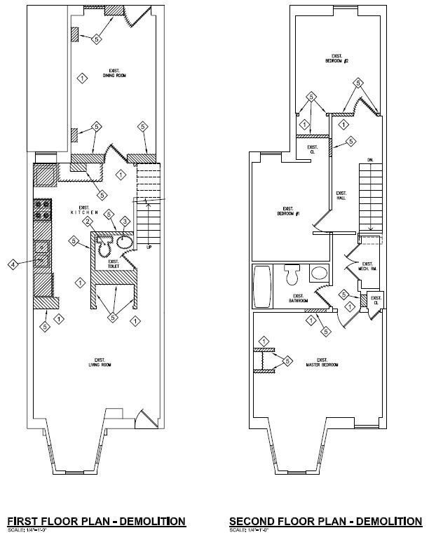 Modern Row House Plans: Shaw Rowhouse Renovation: The Plan