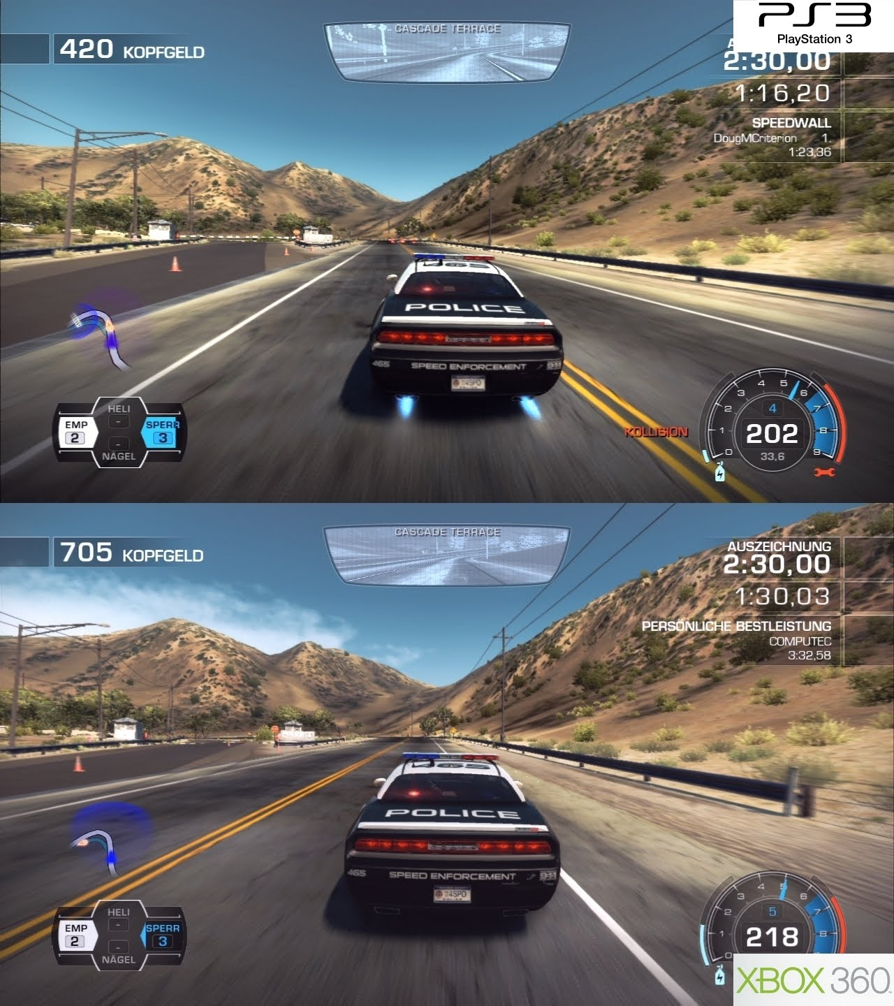Iqgamer Tech Analysis Need For Speed Hot Pursuit Ps3 Vs 360