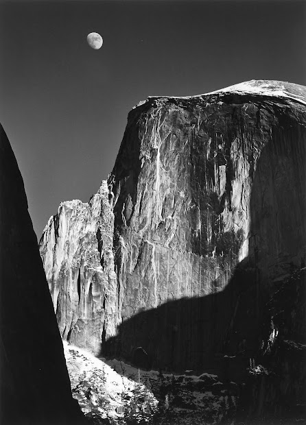Ansel Adams Half Dome and Moon