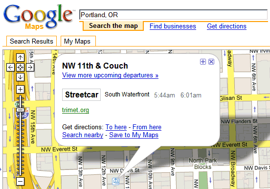 Transit Data in Google Maps and Google Earth