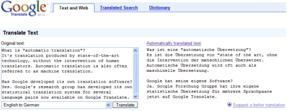 Dutch German Google Translation