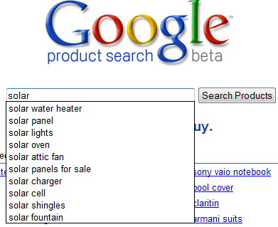 Google Product Search Suggestions