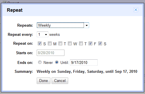 Google Calendar Create Recurring Event