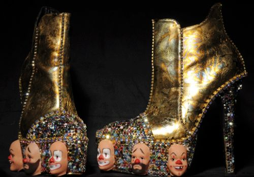 gold booties with extravagant plaltforms