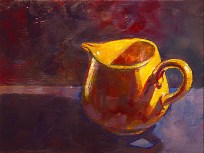 Connie Kleinjans, original oil painting, Yellow Pitcher, 6x8