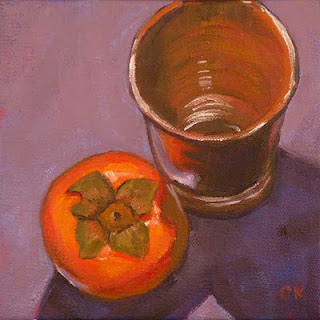 Connie Kleinjans, Sidling, 6x6 oil on canvas