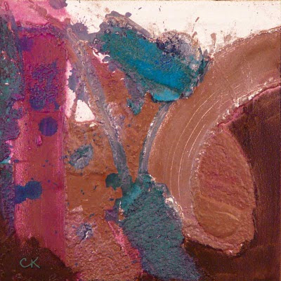 Connie Kleinjans fine art, Input Circuit, 8x8, acrylic and mixed media on board