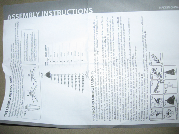 Artificial Christmas Tree Assembly Instructions.Color Coded Artificial Christmas Tree Instructions