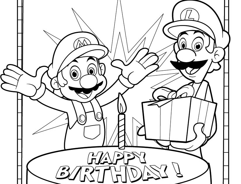 Jimbo S Coloring Pages Mario And Luigi Birthday Coloring Page
