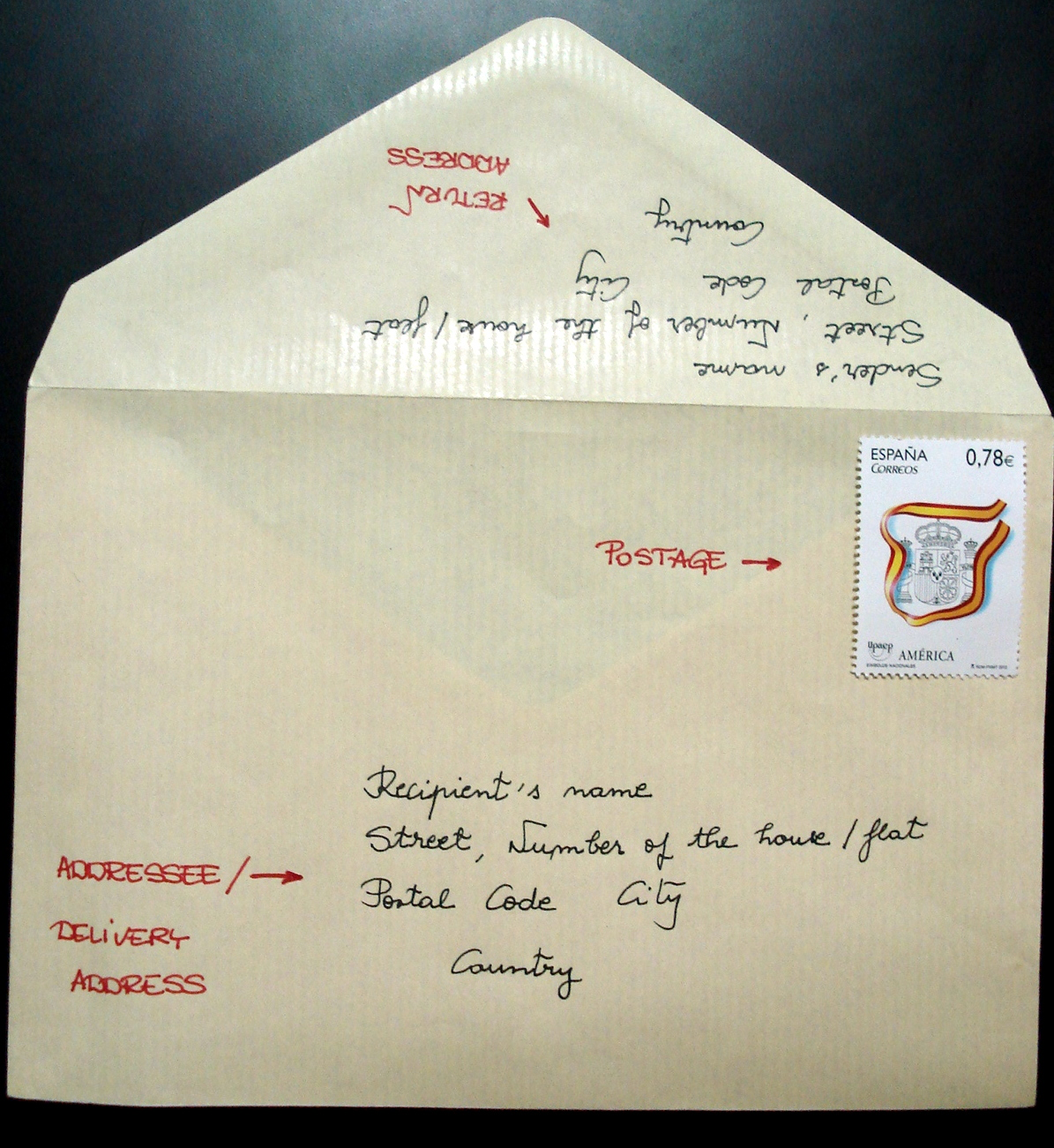 french letter writing addressing