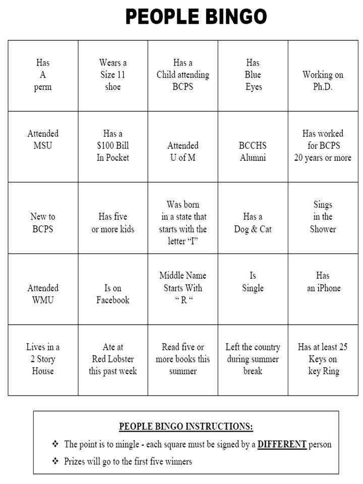 Below is a sample People Bingo card. Enjoy the Bingo madness!