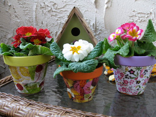 decoupage, make your own mod podge, decoupage flower pots, decorate your own flower pots, flower pot crafts, eco crafts for kids, kids crafts, garden crafts