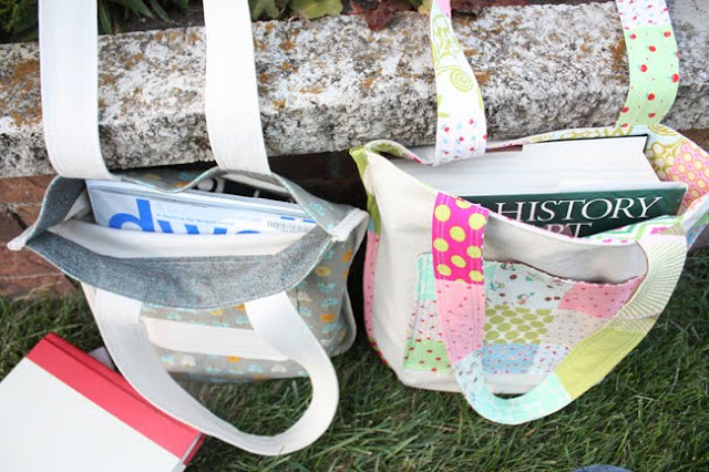 image tutorial diy library bag tote patchwork noodlehead