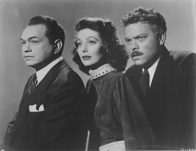 Edward G. Robinson, Orson Welles, and Loretta Young in The Stranger