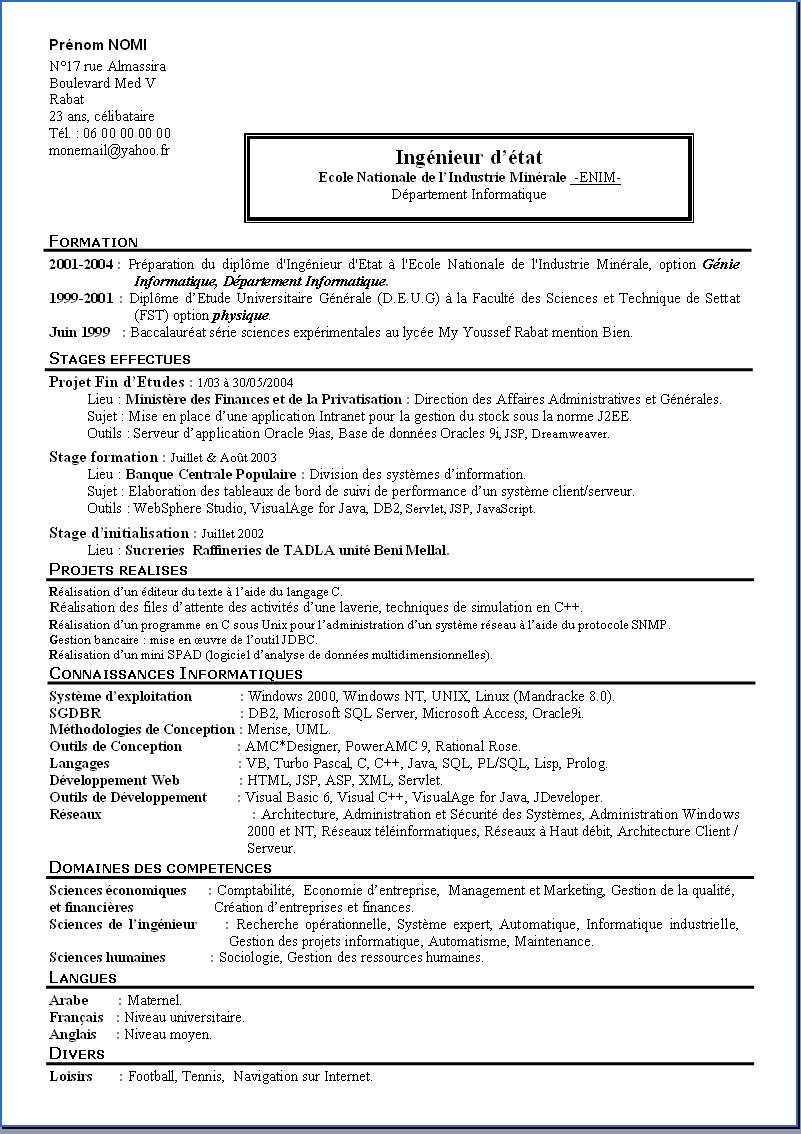 pdf  modele cv simple