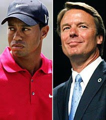 John Edwards and Tiger Woods in the Boardroom
