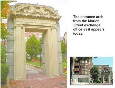 Photos: the entrance arch from the exchange office as it appears today