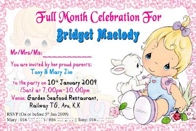 Full Month Invitation Card