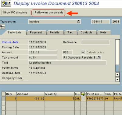 SAP e-mory: SAP MIR4 Display MIRO Invoice