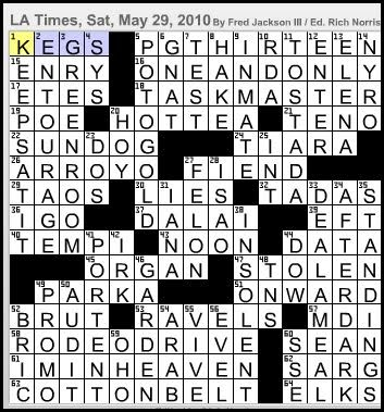 L a times crossword corner saturday may 29 2010 fred for Portent in crossword