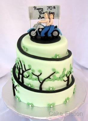 Vulcan Kitchen Decorating Cake Fiction: Kawasaki Motorbike Birthday