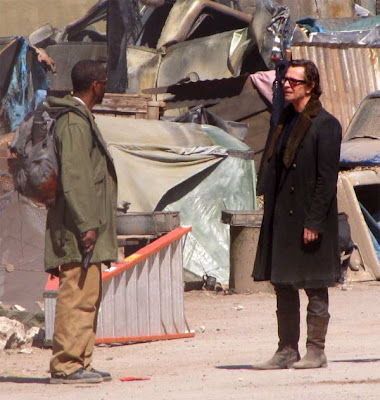 Denzel Washington and Gary Oldman on the set of The Book of Eli movie.